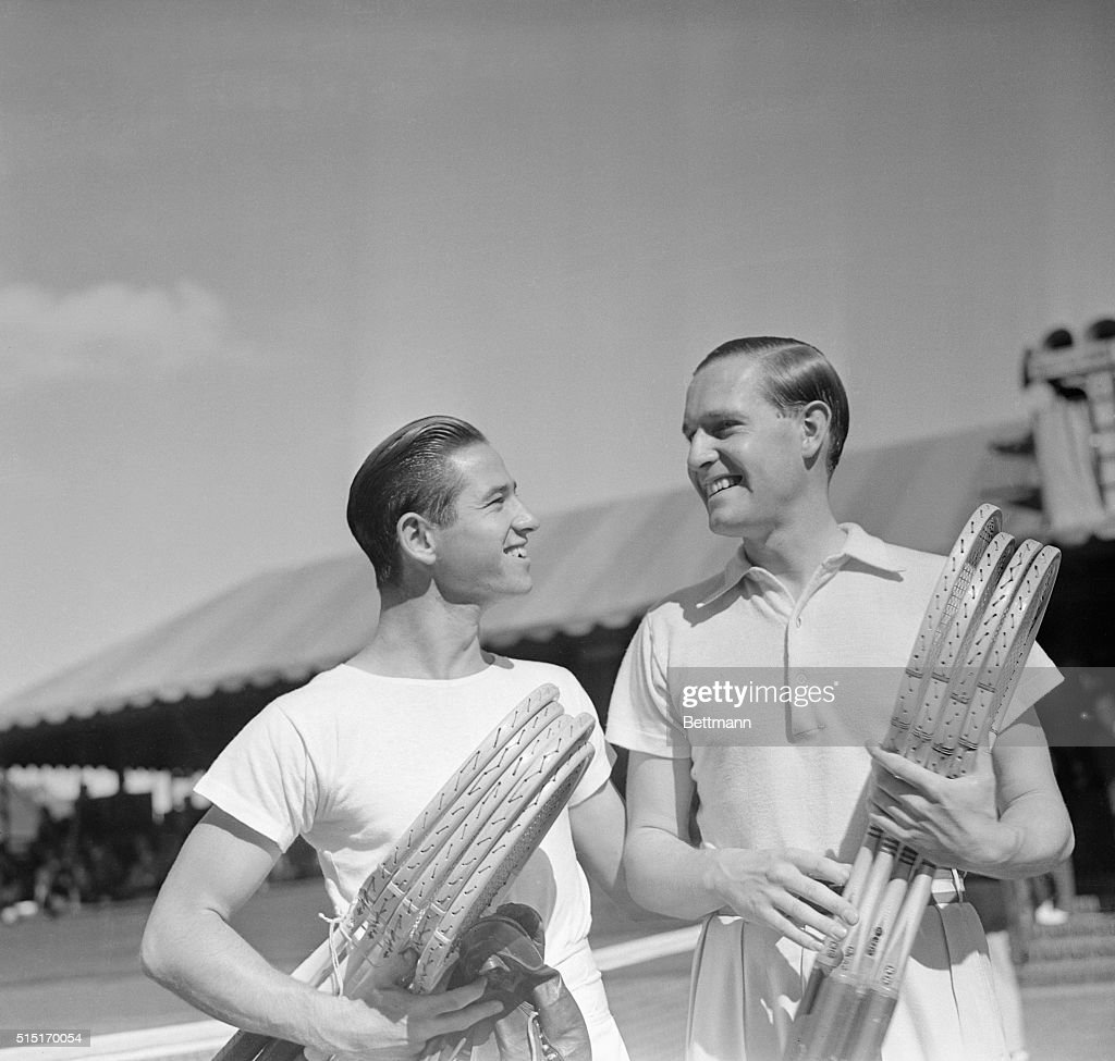 Bobby Riggs and Gottfried Von Cramm Before the Start of their