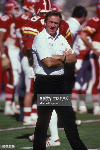 Bobby Ross head coach of the Maryland Terrapins before a college football game at Byrd Stadium on October 1 1986 in College Park Maryland