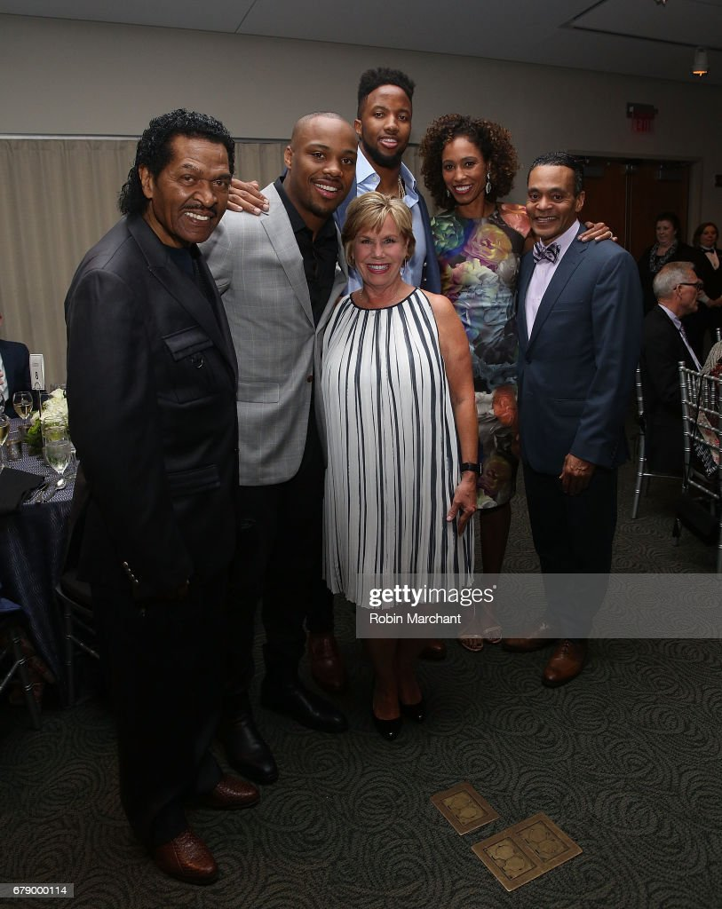 Bobby Rush, Cedric Ogbuehi, Jeremy Hill, Sage Steele, President and CEO of Muhammad Ali Center, Donald Lassere attends Culinary Kickoff At Kentucky Derby at Muhammad Ali Center on May 4, 2017 in Louisville, Kentucky.