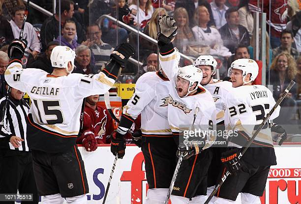 Bobby Ryan of the Anaheim Ducks celebrates with teammates Ryan Getzlaf Corey Perry and Toni Lydman after Ryan scored his third goal in the third...