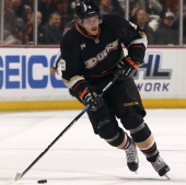 Bobby Ryan of the Anaheim Ducks controls the puck against the Los Angeles Kings during the game on November 17 2011 at Honda Center in Anaheim...