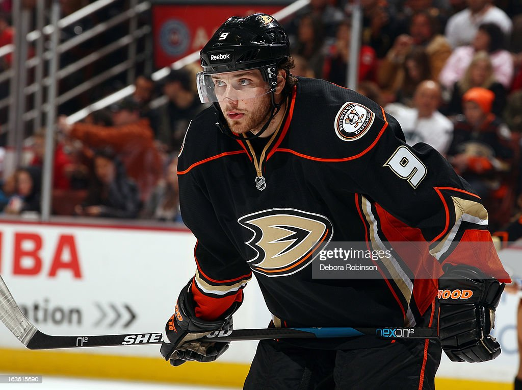 Bobby Ryan #9 of the Anaheim Ducks looks on during the game against the Calgary Flames on March 8, 2013 at Honda Center in Anaheim, California.