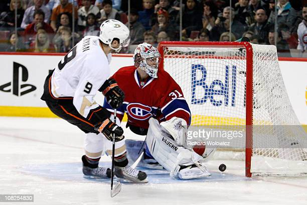 Bobby Ryan of the Anaheim Ducks scores the game winning goal in the shootout on Carey Price of the Montreal Canadiens during the NHL game at the Bell...