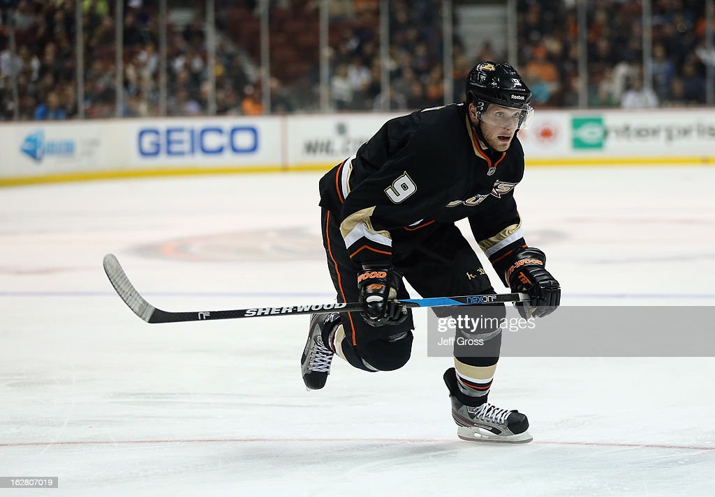 Bobby Ryan #9 of the Anaheim Ducks skates against the San Jose Sharks at Honda Center on February 4, 2013 in Anaheim, California.