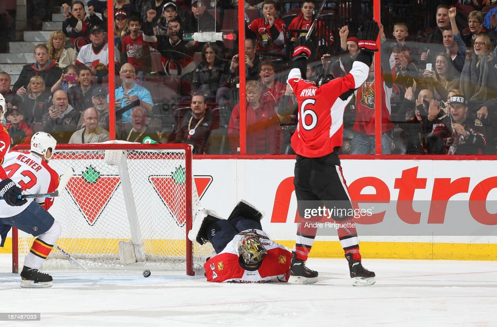 <a gi-track='captionPersonalityLinkClicked' href=/galleries/search?phrase=Bobby+Ryan+-+Ice+Hockey+Player&family=editorial&specificpeople=877359 ng-click='$event.stopPropagation()'>Bobby Ryan</a> #6 of the Ottawa Senators celebrates a second-period power-play goal on Tim Thomas #34 of the Florida Panthers at Canadian Tire Centre on November 9, 2013 in Ottawa, Ontario, Canada.