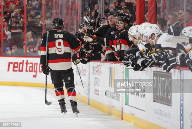 Bobby Ryan of the Ottawa Senators celebrates a shootout goal against the Pittsburgh Penguins with teammates at the players bench at Canadian Tire...