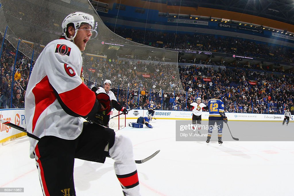 Bobby Ryan of the Ottawa Senators celebrates after scoring the gamewinning goal against the St Louis Blues in overtime at the Scottrade Center on...