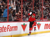 Bobby Ryan of the Ottawa Senators celebrates his second period goal during an NHL game against the Montreal Canadiens at Canadian Tire Centre on...