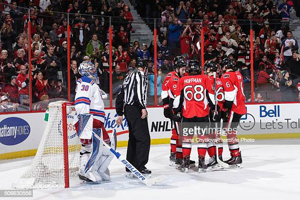 Bobby Ryan of the Ottawa Senators celebrates his second period goal against the New York Rangers with team mates Mike Hoffman and Mika Zibanejad as...
