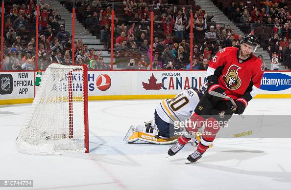 Bobby Ryan of the Ottawa Senators celebrates his shootout goal against Robin Lehner of the Buffalo Sabres at Canadian Tire Centre on February 16 2016...
