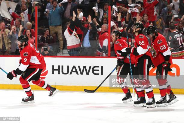 Bobby Ryan of the Ottawa Senators celebrates with his teammates after scoring a goal on Matt Murray of the Pittsburgh Penguins during the second...