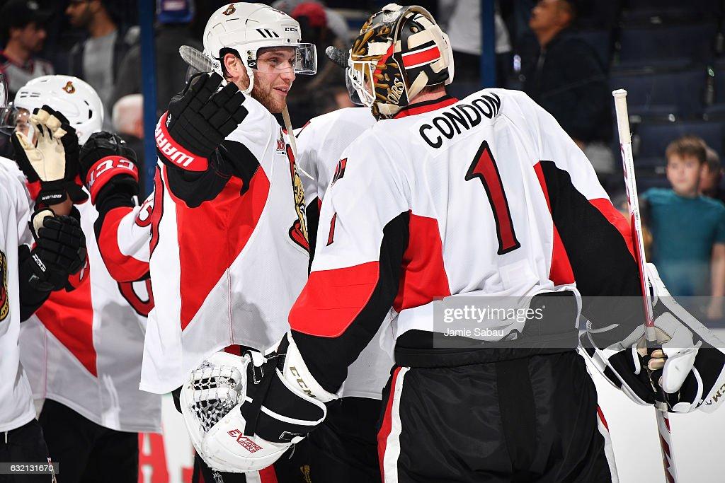 Bobby Ryan #9 of the Ottawa Senators congratulates goaltender Mike Condon #1 of the Ottawa Senators on a 2-0 shutout against the Columbus Blue Jackets on January 19, 2017 at Nationwide Arena in Columbus, Ohio.