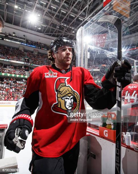 Bobby Ryan of the Ottawa Senators leaves the ice after warmup prior to playing against the Boston Bruins in Game Two of the Eastern Conference First...