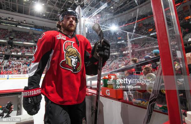 Bobby Ryan of the Ottawa Senators leaves the ice after warmup prior to playing against the Pittsburgh Penguins in Game Six of the Eastern Conference...