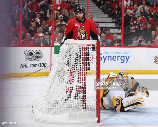 Bobby Ryan of the Ottawa Senators looks on after receiving an interference penalty on Matt Murray of the Pittsburgh Penguins in Game Six of the...