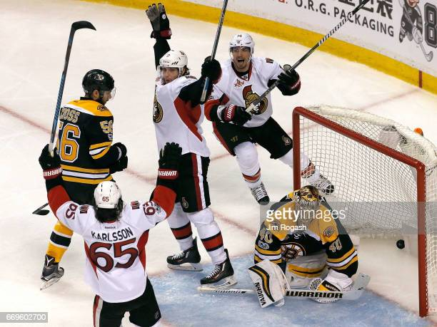 Bobby Ryan of the Ottawa Senators reacts after scoring against Tuukka Rask of the Boston Bruins during overtime in Game Three of the Eastern...