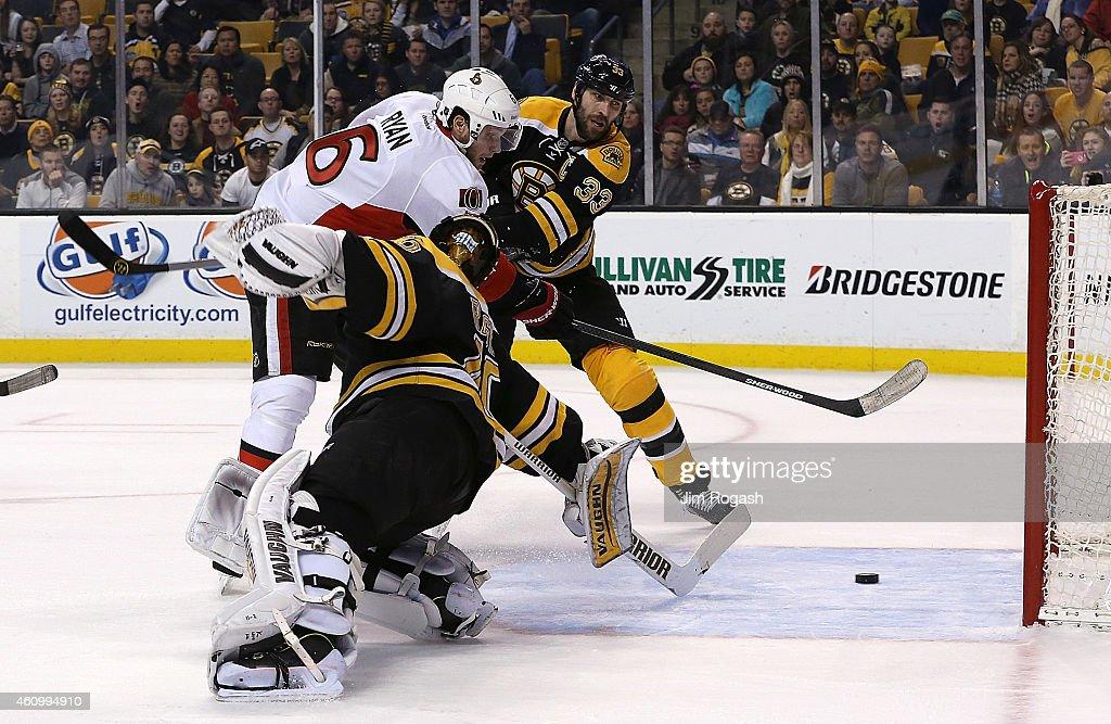 Bobby Ryan of the Ottawa Senators scores by Tuukka Rask of the Boston Bruins in overtime for the win at TD Garden on January 3 2015 in Boston...
