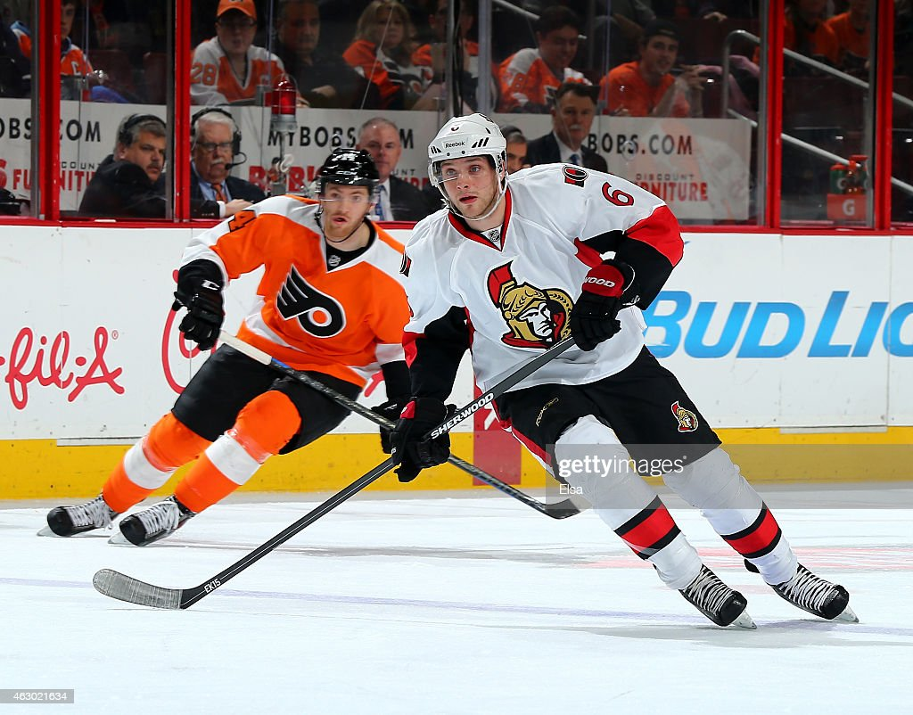 Bobby Ryan #6 of the Ottawa Senators skates as Sean Couturier #14 of the Philadelphia Flyers defends on January 6, 2015 at the Wells Fargo Center in Philadelphia, Pennsylvania.The Philadelphia Flyers defeated the Ottawa Senators 2-1 in an overtime shootout.