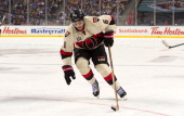 Bobby Ryan of the Ottawa Senators skates with the puck during NHL action against the Vancouver Canucks on March 02 2014 at the 2014 Tim Hortons...