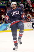 Bobby Ryan of The United States celebrates after he scored the first goal during the ice hockey men's preliminary game between USA and Switzerland on...
