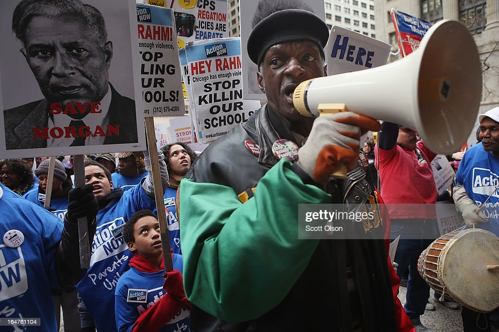 Bobby Scott rallies demonstrators protesting school closings on March 27, 2013 in Chicago, Illinois. More than 1,000 demonstrators held a rally and marched through downtown to protest a plan by the city to close more than 50 elementary schools, claiming it is necessary to rein in a looming $1 billion budget deficit. The closings would shift about 30,000 students to new schools and leave more than 1,000 teachers with uncertain futures.