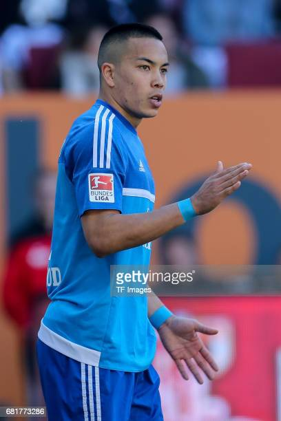 Bobby Shou Wood of Hamburg gestures during the Bundesliga match between FC Augsburg and Hamburger SV at WWK Arena on April 30 2017 in Augsburg Germany