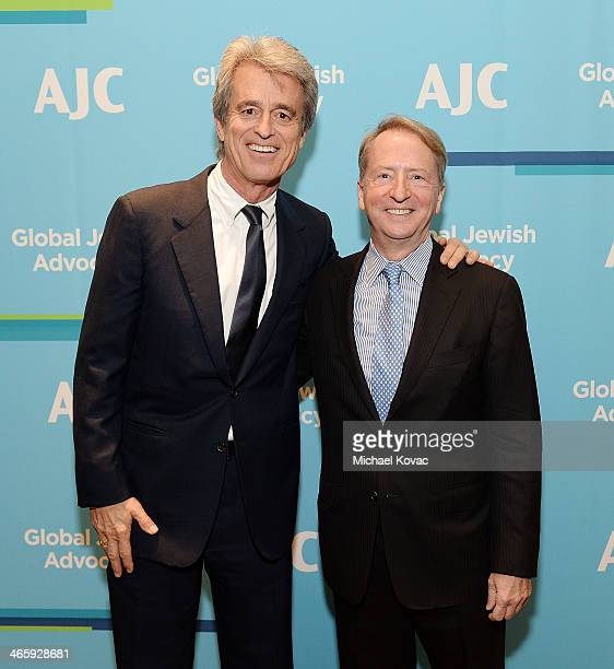 Bobby Shriver and honoree David Bohnett arrive at the AJC Los Angeles' Ira E Yellin Community Leadership Award at Regent Beverly Wilshire Hotel on...
