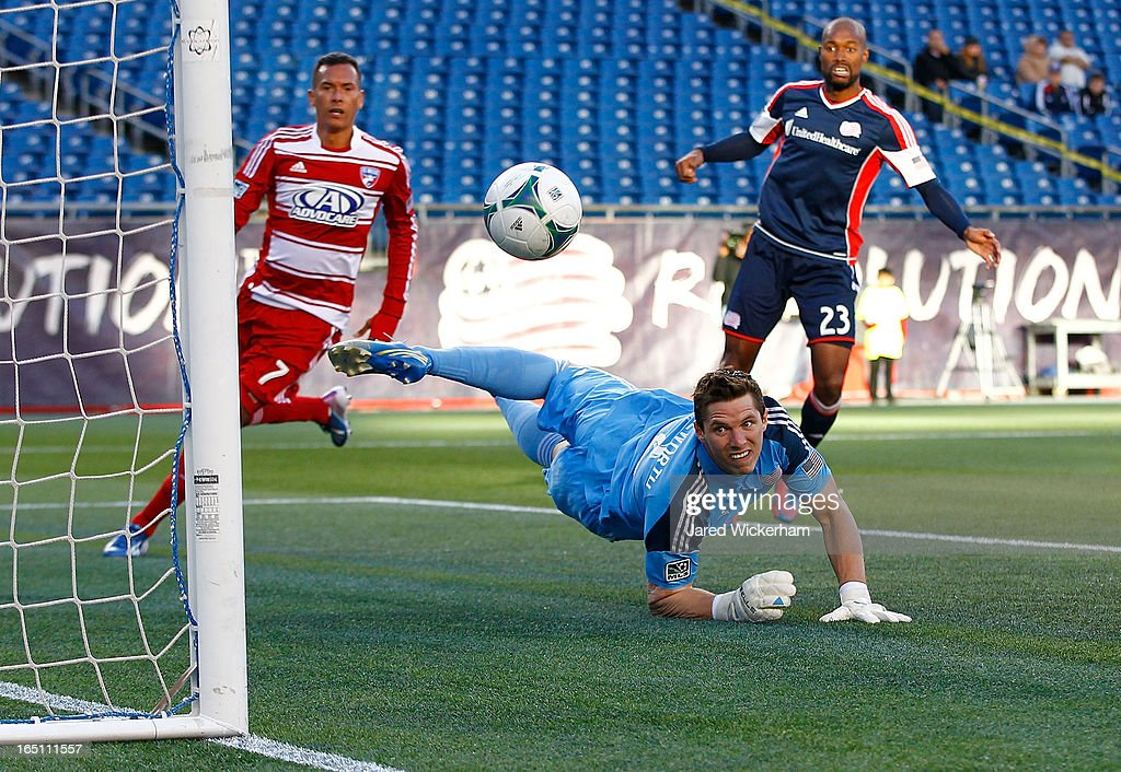Bobby Shuttleworth #34 of New England Revolution watches the ball as it goes into the net after missing the save on the ball late in the second half against FC Dallas during the game at Gillette Stadium on March 30, 2013 in Foxboro, Massachusetts. <a gi-track='captionPersonalityLinkClicked' href=/galleries/search?phrase=Fabian+Castillo&family=editorial&specificpeople=6483174 ng-click='$event.stopPropagation()'>Fabian Castillo</a> #7 of FC Dallas would score on the play.