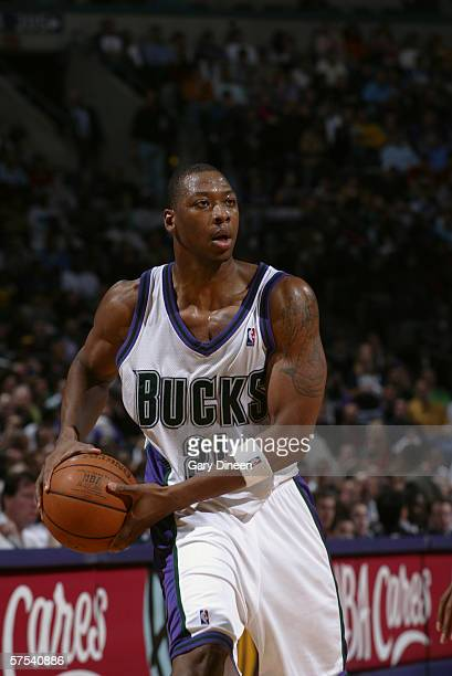 Bobby Simmons of the Milwaukee Bucks controls the ball against the Detroit Pistons in game five of the Eastern Conference Quarterfinals during the...