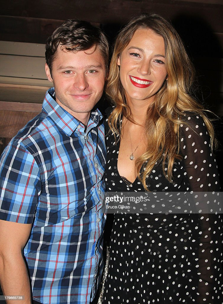 Bobby Steggert and Blake Lively pose backstage (as Lively and Ryan Reynolds celebrate their 1st wedding anniversary) at the musical 'Big Fish' on Broadway at The Neil Simon Theater on September 6, 2013 in New York City.