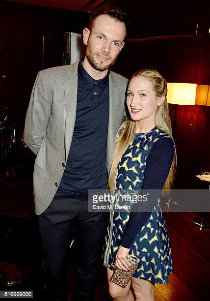 Bobby Stockley and Sophia Webster attend the BFC/Vogue Designer Fashion Fund 2016 winners announcement at The Bulgari Hotel on March 22 2016 in...