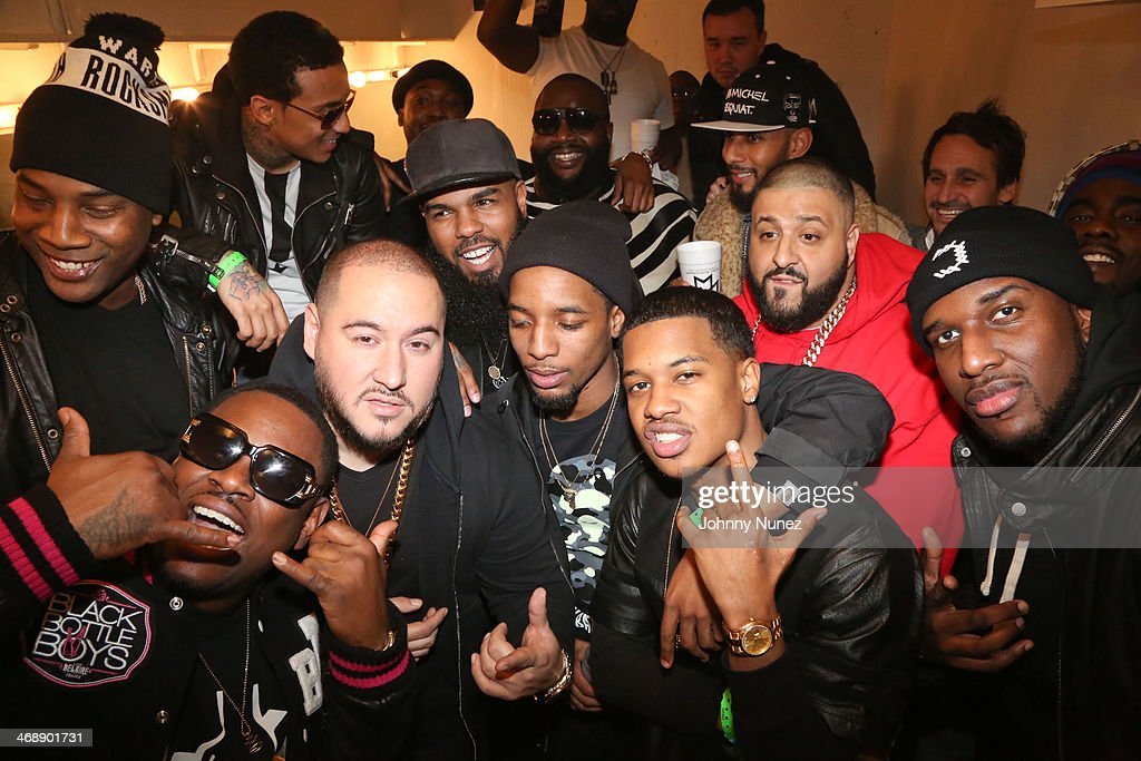 Bobby Trends, <a gi-track='captionPersonalityLinkClicked' href=/galleries/search?phrase=Stalley&family=editorial&specificpeople=5838307 ng-click='$event.stopPropagation()'>Stalley</a>, Rockie Fresh, Rick Ross, <a gi-track='captionPersonalityLinkClicked' href=/galleries/search?phrase=Swizz+Beatz&family=editorial&specificpeople=567154 ng-click='$event.stopPropagation()'>Swizz Beatz</a>, <a gi-track='captionPersonalityLinkClicked' href=/galleries/search?phrase=DJ+Khaled&family=editorial&specificpeople=577862 ng-click='$event.stopPropagation()'>DJ Khaled</a>, Tracy T, <a gi-track='captionPersonalityLinkClicked' href=/galleries/search?phrase=DJ+Scream&family=editorial&specificpeople=7561830 ng-click='$event.stopPropagation()'>DJ Scream</a> and members of Mayback Music Group attend the Rick Ross 'Mastermind' Listening Event at New World Stages on February 11, 2014 in New York City.