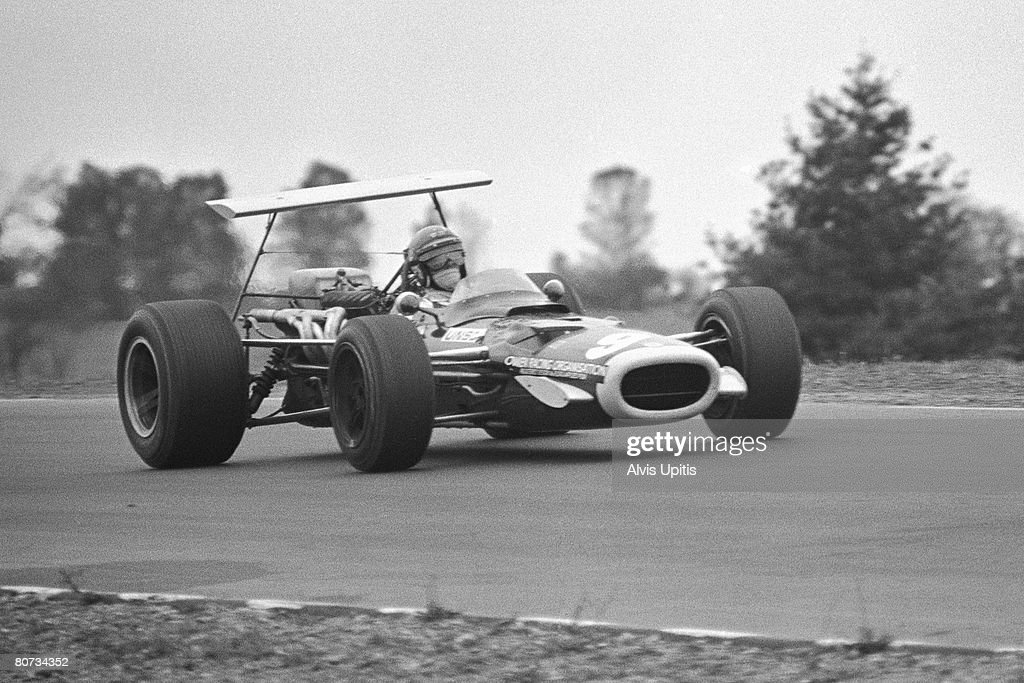 Bobby Unser cometing in his only Formula One race in the BRM P133 in the United States Grand Prix held at Watkins Glen New York on October 6 1968