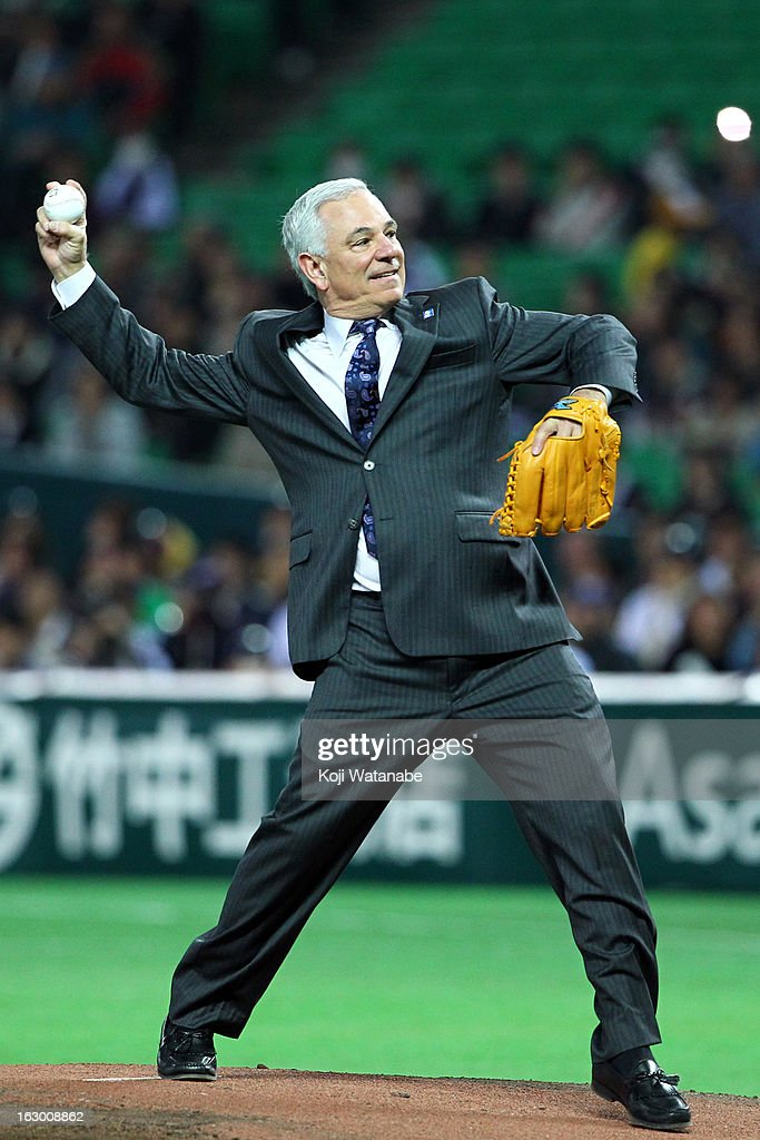 Bobby Valentine throws out the first pitch during the World Baseball Classic First Round Group A game between Japan and China at Fukuoka Yahoo! Japan Dome on March 3, 2013 in Fukuoka, Japan.