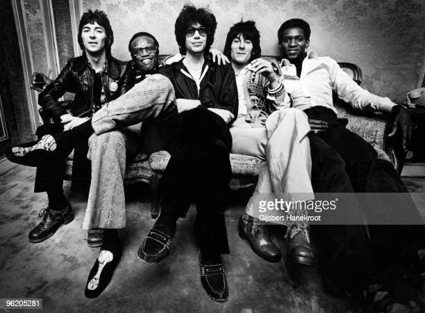 Bobby Womack posed backstage with Ian McLagan and Ron Wood of the Faces in Amsterdam Netherlands LR Ian McLagan Bobby Womack Andy Newmark Ron Wood...