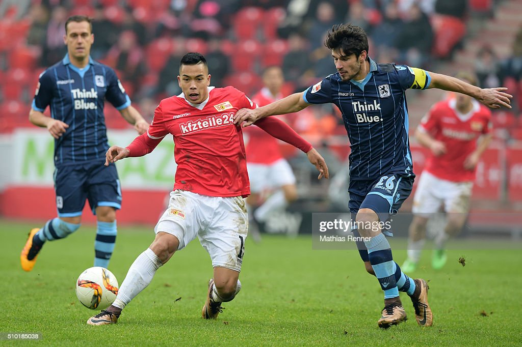 <a gi-track='captionPersonalityLinkClicked' href=/galleries/search?phrase=Bobby+Wood&family=editorial&specificpeople=8229074 ng-click='$event.stopPropagation()'>Bobby Wood</a> of 1 FC Union Berlin and Christopher Schindler of TSV 1860 Muenchen during the game between Union Berlin and TSV 1860 Muenchen on february 14, 2016 in Berlin, Germany.