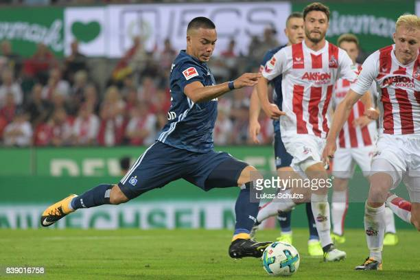 Bobby Wood of Hamburg about to score his teams second goal during the Bundesliga match between 1 FC Koeln and Hamburger SV at RheinEnergieStadion on...
