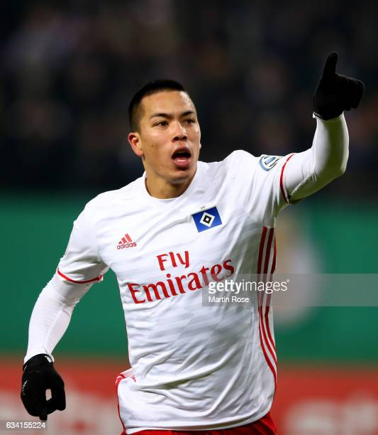 Bobby Wood of Hamburg celebrates after scoring the 2nd goal during the DFB Cup round of 16 match between Hamburger SV and 1 FC Koeln at...
