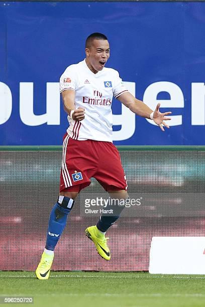 Bobby Wood of Hamburg celebrates scoring the opening goal during the Bundesliga match between Hamburger SV and FC Ingolstadt 04 at Volksparkstadion...