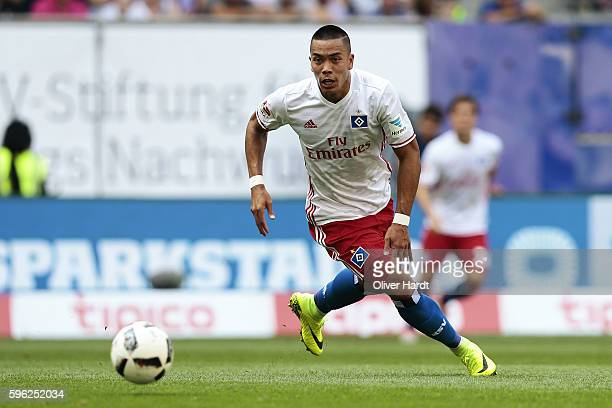 Bobby Wood of Hamburg in action during the Bundesliga match between Hamburger SV and FC Ingolstadt 04 at Volksparkstadion on August 27 2016 in...