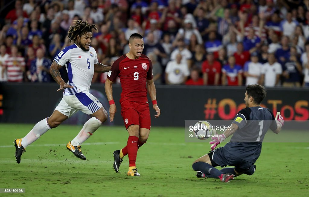 Bobby Wood #9 of the United States attempts a shot during the final round qualifying match against Panama for the 2018 FIFA World Cup at Orlando City Stadium on October 6, 2017 in Orlando, Florida.