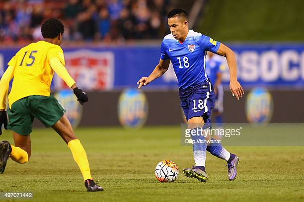 Bobby Wood of the United States controls the ball against St Vincent and the Grenadines during a World Cup qualifying match at Busch Stadium on...