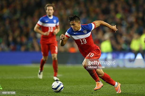 Bobby Wood of USA during the International Friendly match between the Republic of Ireland and USA at the Aviva Stadium on November 18 2014 in Dublin...