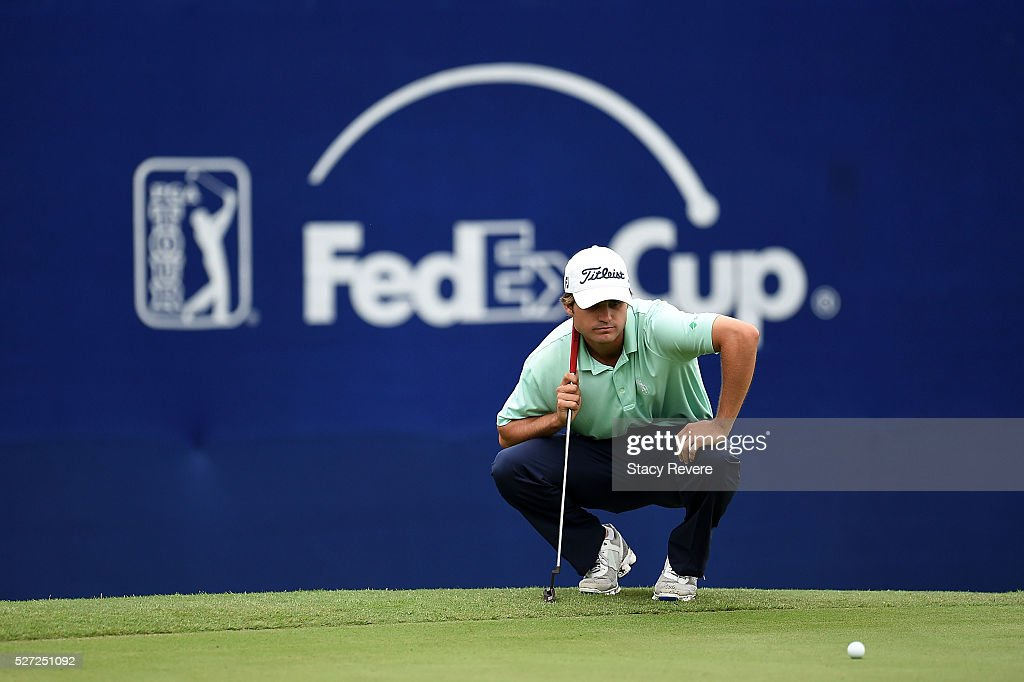 Bobby Wyatt lines up a putt on the 18th green during a continuation of the third round of the Zurich Classic at TPC Louisiana on May 2, 2016 in Avondale, Louisiana.