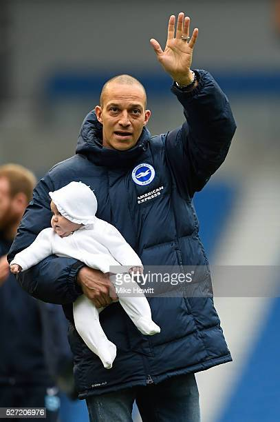 Bobby Zamora of Brighton and Hove Albion applauds the fans following their team's 11 draw during the Sky Bet Championship match between Brighton and...