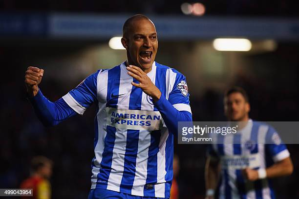 Bobby Zamora of Brighton and Hove Albion celebrates scoring during the Sky Bet Championship match between Brighton and Hove Albion and Birmingham...