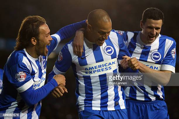Bobby Zamora of Brighton and Hove Albion celebrates with team mates Inigo Calderson and Jamie Murphy after scoring during the Sky Bet Championship...