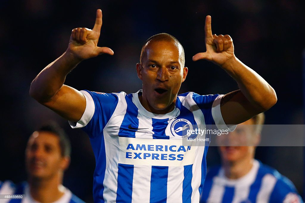 <a gi-track='captionPersonalityLinkClicked' href=/galleries/search?phrase=Bobby+Zamora&family=editorial&specificpeople=207020 ng-click='$event.stopPropagation()'>Bobby Zamora</a> of Brighton celebrates after scoring the winner during the Sky Bet Championship match between Brighton & Hove Albion and Bristol City at Amex Stadium on October 20, 2015 in Brighton, England.