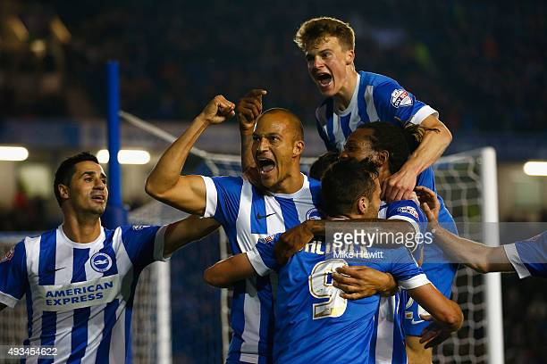Bobby Zamora of Brighton celebrates with team mates after scoring during the Sky Bet Championship match between Brighton Hove Albion and Bristol City...