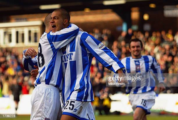 Bobby Zamora of Brighton Hove Albion celebrates scoring the first goal during the Nationwide League Division One match between Brighton Hove Albion...